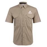 Khaki Short Sleeve Performance Fishing Shirt-AP Austin Peay Governors - Official Athletic Logo