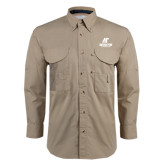 Khaki Long Sleeve Performance Fishing Shirt-AP Austin Peay Governors - Official Athletic Logo