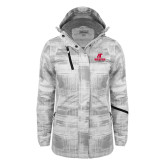 Ladies White Brushstroke Print Insulated Jacket-AP Austin Peay Governors - Official Athletic Logo