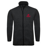 Black Heather Fleece Jacket-AP Austin Peay Governors - Official Athletic Logo