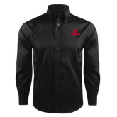 Red House Black Herringbone Long Sleeve Shirt-AP Austin Peay Governors - Official Athletic Logo