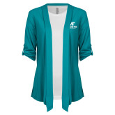 Ladies Teal Drape Front Cardigan-AP Austin Peay Governors - Official Athletic Logo
