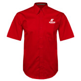 Red Twill Button Down Short Sleeve-AP Austin Peay Governors - Official Athletic Logo