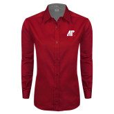 Ladies Red Twill Button Down Long Sleeve-AP