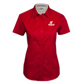 Ladies Red Twill Button Up Short Sleeve-AP Austin Peay Governors - Official Athletic Logo