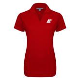 Ladies Red Dry Zone Grid Polo-AP
