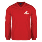 V Neck Red Raglan Windshirt-AP Austin Peay Governors - Official Athletic Logo