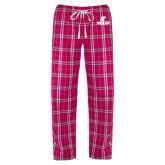 Ladies Dark Fuchsia/White Flannel Pajama Pant-AP Austin Peay Governors - Official Athletic Logo