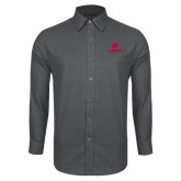 Red House Dark Charcoal Diamond Dobby Long Sleeve Shirt-AP Austin Peay Governors - Official Athletic Logo