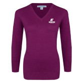Ladies Deep Berry V Neck Sweater-AP Austin Peay Governors - Official Athletic Logo