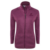 Dark Pink Heather Ladies Fleece Jacket-AP Austin Peay Governors - Official Athletic Logo