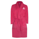 Ladies Pink Raspberry Plush Microfleece Shawl Collar Robe-AP Austin Peay Governors - Official Athletic Logo