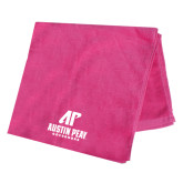 Pink Beach Towel-AP Austin Peay Governors - Official Athletic Logo