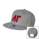 Heather Grey Wool Blend Flat Bill Snapback Hat-AP