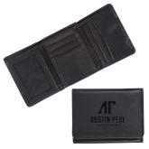 Canyon Tri Fold Black Leather Wallet-AP Austin Peay Governors - Official Athletic Logo Engraved
