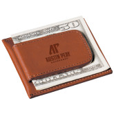 Cutter & Buck Chestnut Money Clip Card Case-AP Austin Peay Governors - Official Athletic Logo Engraved