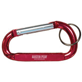 Red Carabiner with Split Ring-Austin Peay Governors Flat Engraved