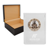 Grand Crystal Clock in Rosewood Box-AP Austin Peay Governors - Official Athletic Logo Engraved