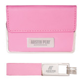 Business Card Case and Key Ring Set Pink-Austin Peay Governors Flat Engraved