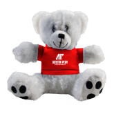 Plush Big Paw 8 1/2 inch White Bear w/Red Shirt-AP Austin Peay Governors - Official Athletic Logo