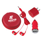 3 in 1 Red Audio Travel Kit-AP Austin Peay Governors - Official Athletic Logo
