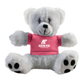 Plush Big Paw 8 1/2 inch White Bear w/Pink Shirt-AP Austin Peay Governors - Official Athletic Logo