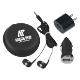 3 in 1 Black Audio Travel Kit-AP Austin Peay Governors - Official Athletic Logo