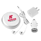 3 in 1 White Audio Travel Kit-AP Austin Peay Governors - Official Athletic Logo