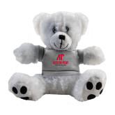 Plush Big Paw 8 1/2 inch White Bear w/Grey Shirt-AP Austin Peay Governors - Official Athletic Logo