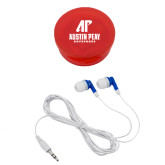 Ear Buds in Red Case-AP Austin Peay Governors - Official Athletic Logo