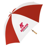 62 Inch Red/White Umbrella-AP Austin Peay Governors - Official Athletic Logo