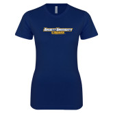 Next Level Ladies SoftStyle Junior Fitted Navy Tee-Averett University Cougars
