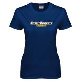 Ladies Navy T Shirt-Averett University Cougars