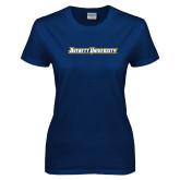 Ladies Navy T Shirt-Averett University