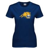 Ladies Navy T Shirt-Cougar Head