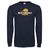 Navy Long Sleeve T Shirt-Averett University Cougars