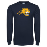 Navy Long Sleeve T Shirt-Cougar Head