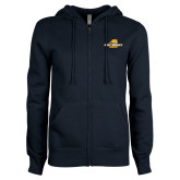 ENZA Ladies Navy Fleece Full Zip Hoodie-Averett University Cougars