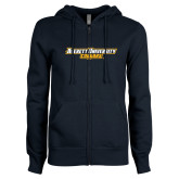 ENZA Ladies Navy Fleece Full Zip Hoodie-Averett University Cougars