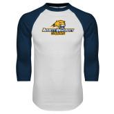 White/Navy Raglan Baseball T Shirt-Averett University Cougars