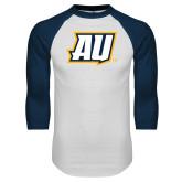 White/Navy Raglan Baseball T Shirt-AU