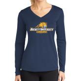 Ladies Syntrel Performance Navy Longsleeve Shirt-Averett University Cougars