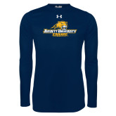 Under Armour Navy Long Sleeve Tech Tee-Averett University Cougars
