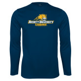 Performance Navy Longsleeve Shirt-Averett University Cougars