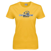 Ladies Gold T Shirt-Averett University Cougars