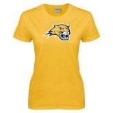 Ladies Gold T Shirt-Cougar Head