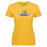 Ladies Gold T Shirt-Basketball