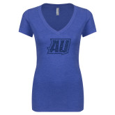 Next Level Ladies Vintage Royal Tri Blend V Neck Tee-Primary Mark Dark Blue Glitter