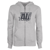 ENZA Ladies Grey Fleece Full Zip Hoodie-Primary Mark Graphite Soft Glitter