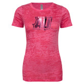 Next Level Ladies Junior Fit Fuchsia Burnout Tee-AU  Foil